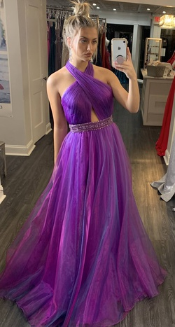Jovani Purple Size 6 Halter Backless Ball gown on Queenly