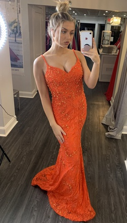 Jovani Orange Size 4 Lace A-line Dress on Queenly