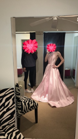 Sherri Hill Pink Size 0 Halter Silk Ball gown on Queenly