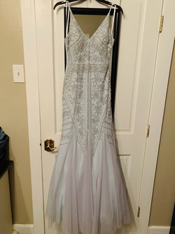 XSCAPE Blue Size 2 Plunge Prom Mermaid Dress on Queenly