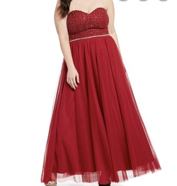 Queenly size 14 Jodi Kristopher Red A-line evening gown/formal dress