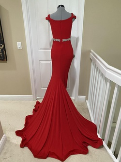 Jovani Red Size 2 Tall Height Mermaid Dress on Queenly