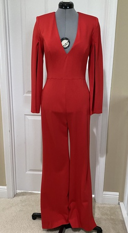 Queenly size 8 Jovani Red Romper/Jumpsuit evening gown/formal dress