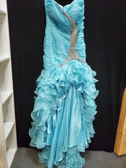 Queenly size 12 New Mac Duggal Blue Train evening gown/formal dress