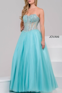Strapless A-Line Jovani Gown Tiffany Blue Blue Size 18 Ball gown on Queenly