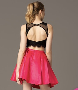 PromGirl Hot Pink Size 8 Flare Two Piece Cocktail Dress on Queenly
