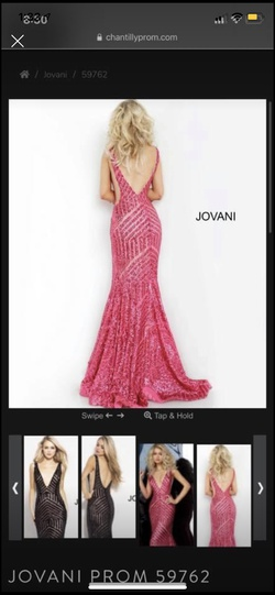 Jovani Pink Size 4 Plunge Shiny Train Dress on Queenly