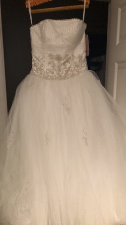 Mori Lee White Size 12 Plus Size Ball gown on Queenly
