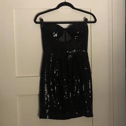 Mac Duggal Black Size 4 Sorority Formal Sheer Cocktail Dress on Queenly