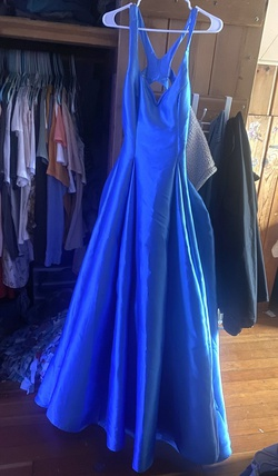 B. Darlin Royal Blue Size 12 Cut Out Plunge Plus Size Ball gown on Queenly