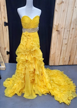 Queenly size 6 Mac Duggal Yellow Train evening gown/formal dress