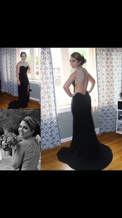 Sherri Hill Black Size 4 Jewelled Backless Train Dress on Queenly