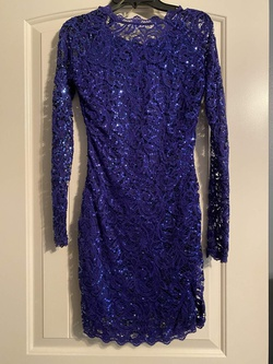 sequin hearts Royal Blue Size 00 Mini Lace Cocktail Dress on Queenly