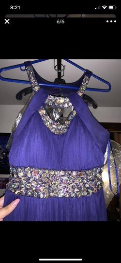 Betsy & Adam Purple Size 8 Halter Belt Side slit Dress on Queenly