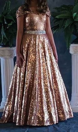 Tiffany Gold Size 4 Ball gown on Queenly