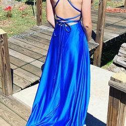 Madison James Blue Size 4 Side slit Dress on Queenly