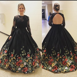 Queenly size 8 Sherri Hill Black Ball gown evening gown/formal dress