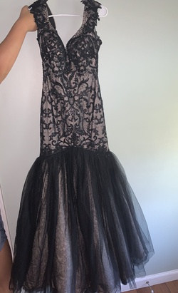 Sherri Hill Black Size 4 Prom Lace Mermaid Dress on Queenly
