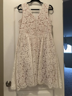 Lulus White Size 14 Nude V Neck Plus Size Lace A-line Dress on Queenly
