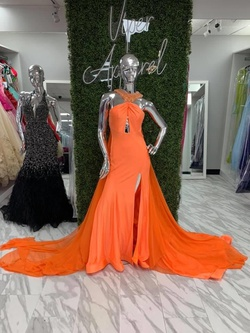 Queenly size 4 Mac Duggal Orange Train evening gown/formal dress