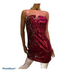 Superdown Pink Size 8 Sequin Jersey Silver Cocktail Dress on Queenly