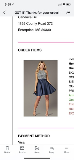 Jovani Blue Size 12 Flare Mini A-line Dress on Queenly