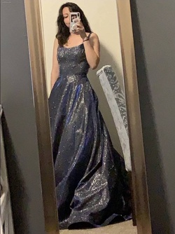 Queenly size 6 Sherri Hill Silver A-line evening gown/formal dress