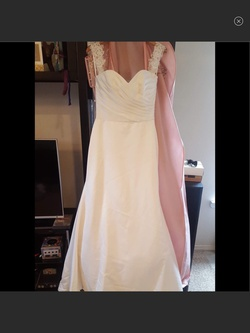 Queenly size 12 Mikaella White A-line evening gown/formal dress