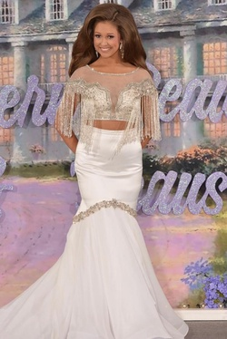 Vienna White Size 2 Fringe Two Piece Pageant Mermaid Dress on Queenly