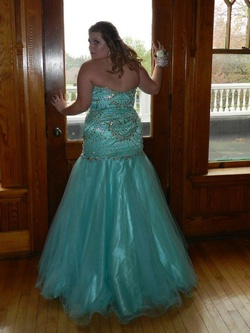 Tony Bowls Blue Size 14 Sweetheart Strapless Plus Size Mermaid Dress on Queenly
