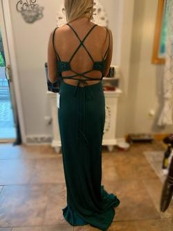 Val Stefani Green Size 4 Shiny Side slit Dress on Queenly