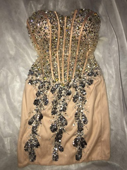 Queenly size 2 Jovani Nude Cocktail evening gown/formal dress