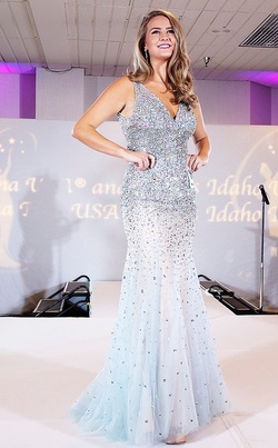 Queenly size 4 Jovani Blue Mermaid evening gown/formal dress