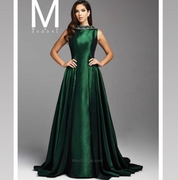Queenly size 12 Mac Duggal Green Train evening gown/formal dress