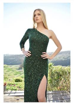 Rene the Label Green Size 6 Side Slit Straight Dress on Queenly