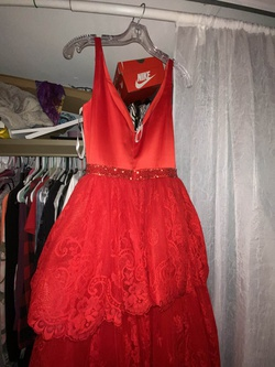 Sherri Hill Red Size 4 Prom Plunge Ruffles Ball gown on Queenly