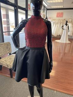 Jolene Red Size 12 Halter Silk Wedding Guest Cocktail Dress on Queenly