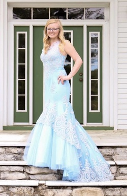 Abby Paris Light Blue Size 8 Train Ball gown on Queenly