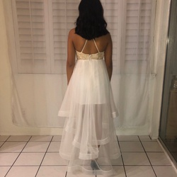 Windsor White Size 6 Prom Tulle Mini Ball gown on Queenly