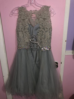 May Queen Silver Size 6 Cocktail Dress on Queenly