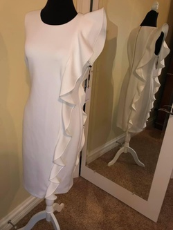 Queenly size 8 Calvin ein White Straight evening gown/formal dress