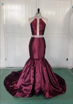 Michael Xu Purple Size 2 Silk High Neck Halter Mermaid Dress on Queenly