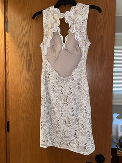 Morgan & Co White Size 4 Wedding Lace Cocktail Dress on Queenly