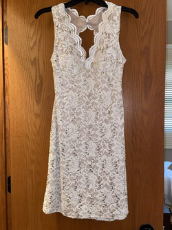 Queenly size 4 Morgan & Co White Cocktail evening gown/formal dress