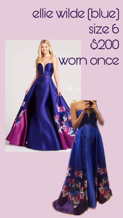 Ellie Wilde Blue Size 6 A-line Dress on Queenly