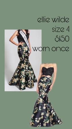Queenly size 4 Ellie Wilde Blue Mermaid evening gown/formal dress