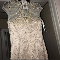 Sherri Hill Nude Size 8 Sheer Cocktail Dress on Queenly