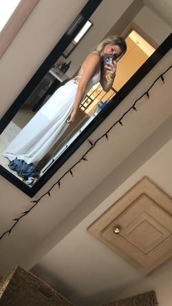 Showpo White Size 2 Wedding Plunge Side slit Dress on Queenly