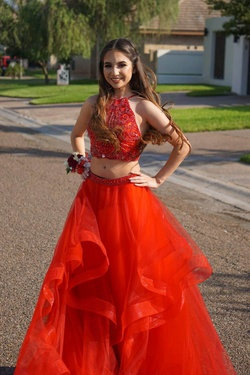 Jovani Red Size 0 Ruffles Jewelled Sequin Train Dress on Queenly