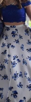 Ellie Wilde Blue Size 14 Floral Ball gown on Queenly